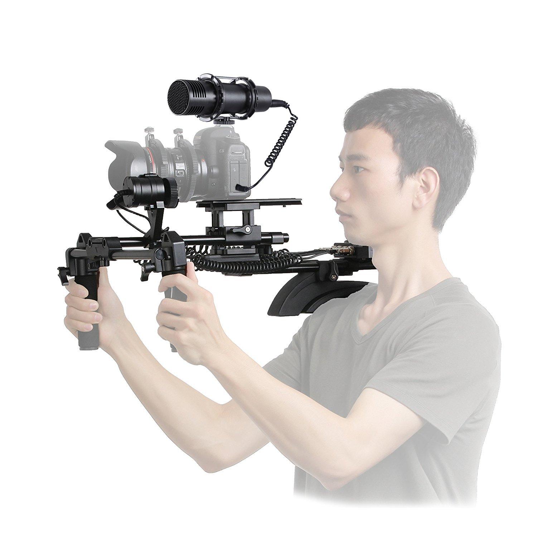 Movo電動式フォローフォーカスとズームコントロールビデオショルダーサポートシステムwith外部ステレオマイクfor Canon/Nikon/Sony DSLRカメラとビデオカメラ   B075FDB4FX