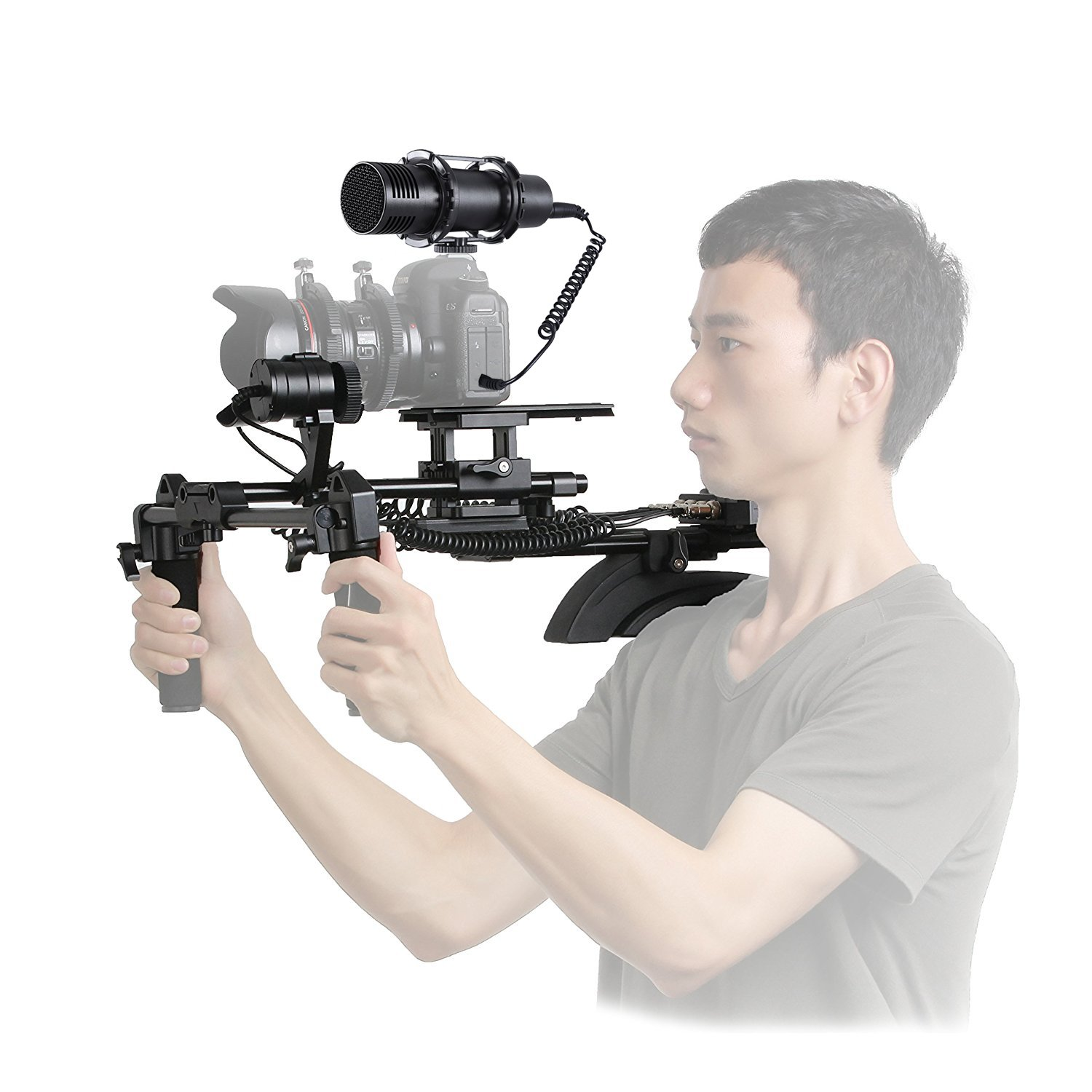 Movo Motorized Follow Focus and Zoom Control Video Shoulder Support System with External Stereo Microphone for Canon, Nikon, Sony DSLR Cameras and Camcorders by Movo
