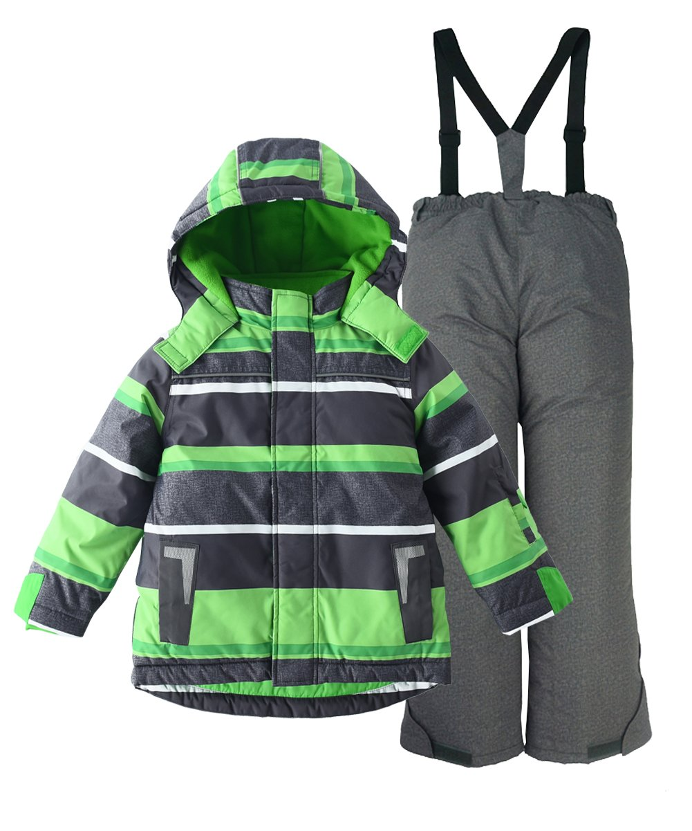 M2C Boys Thicken Warm Hooded Striped Ski Snowsuit Jacket & Pants 6T Green by M2C