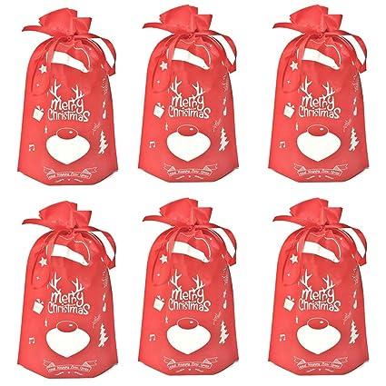 a3fdeb0dd Toyvian Bolsas de cordón navideño, Bolsas no Tejidas ecológicas para Bolsas  de Fiesta para party10pcs