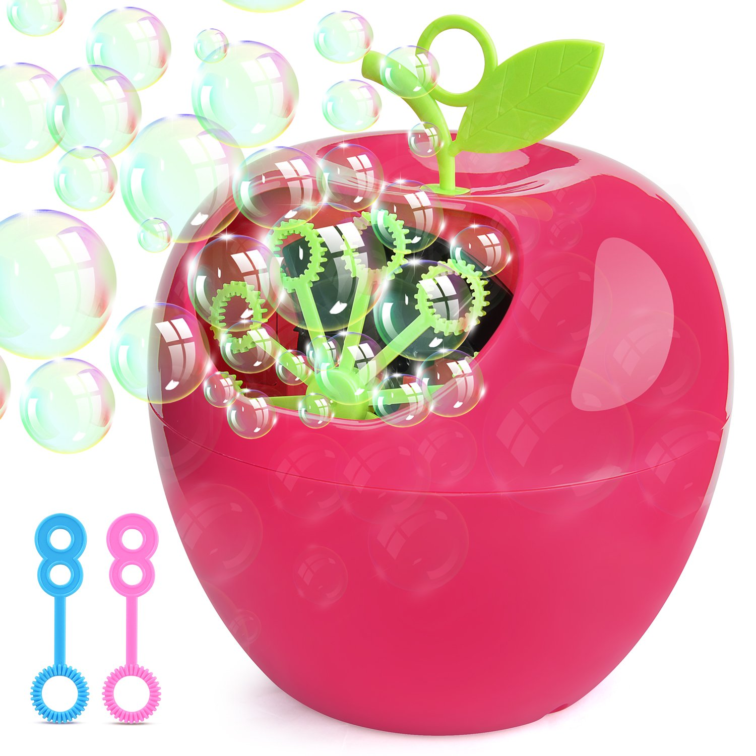 Victostar Automatic Bubble Machine High Output Over 800 Bubbles Per Minute Outdoor Indoor Use 4 AA Battery Operated Not Include Apple Shape