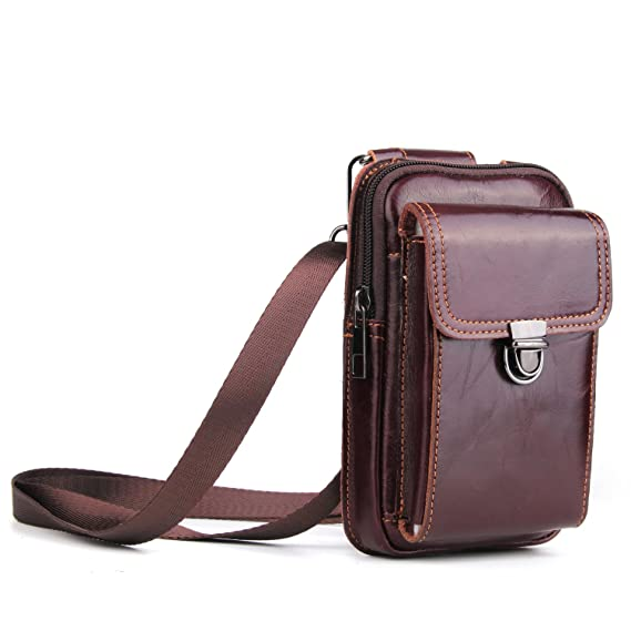 6a7bd7731143 Genuine Leather Vertical Belt Loop Holster Case Belt Waist Bag, Men Small  Travel Messager Pouch Pack Cellphone Holster Purse Wallet for Apple iPhone  ...