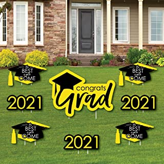 product image for Big Dot of Happiness Yellow Grad - Best is Yet to Come - Yard Sign and Outdoor Lawn Decorations - Yellow 2021 Graduation Party Yard Signs - Set of 8