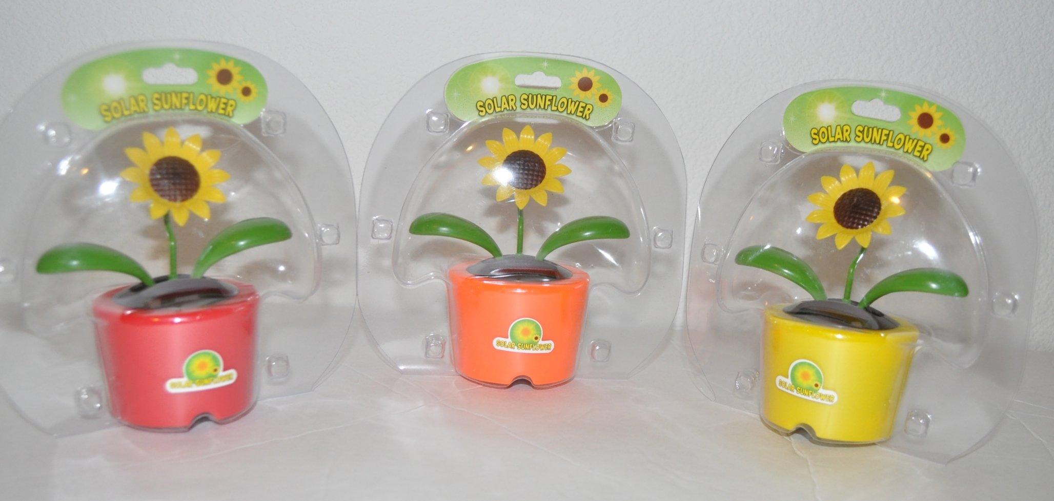 Solar-Powered Plastic Dancing Flowers, Pack of 3-Red, Orange, Yellow Pot