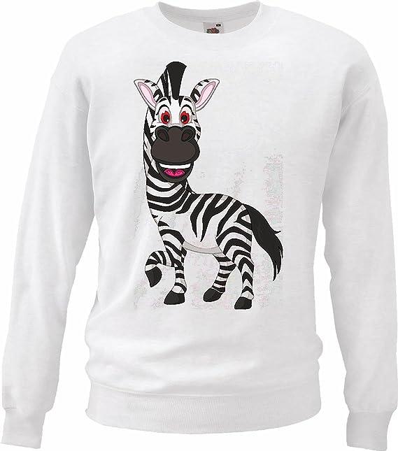 Sudaderas Suéter Risa Caballo de la Cebra Grevyzebra Cebra de montaña ESTEPA Zebra Caballo Salvaje en Blanco: Amazon.es: Ropa y accesorios
