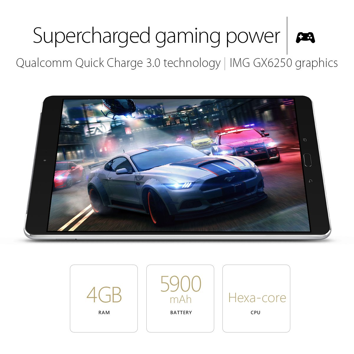 ASUS ZenPad 3S 10 9.7'' (2048x1536), 4GB RAM, 64GB eMMC, 5MP Front / 8MP Rear Camera, Android 6.0, Tablet, Titanium Gray (Z500M-C1-GR) by Asus