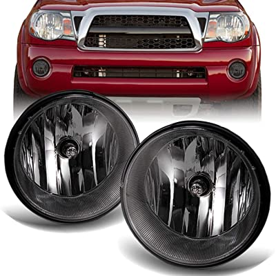 For 05-11 Toyota Tacoma Pickup Bumper Smoke Fog Lights Driving Lamps w/Bulbs + Wiring Harness + Switch: Automotive