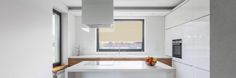 Rollo Studio Moderner Crushed Optik, Fenster Plissee auf Maß, ohne ohne ohne Bohren mit Neu Klemmfix Smartfix Jalousie System, Viele Größen und Farben, für alle Fenster, Fensterrollos, Weiß B07MZY4JW5 Plissees 456b7d