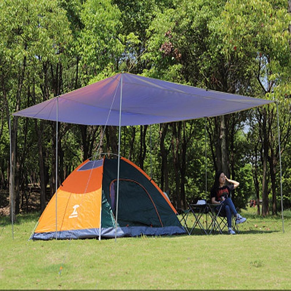 bleu-6 irons  WUPO Tente De Mouche De Pluie De Hamac, BÂche Portative 3  3M, Pare-Soleil, Imperméable à l'eau Et à La Neige, Camping Extérieur Maison Plage Champ Parc Parking, Bleu