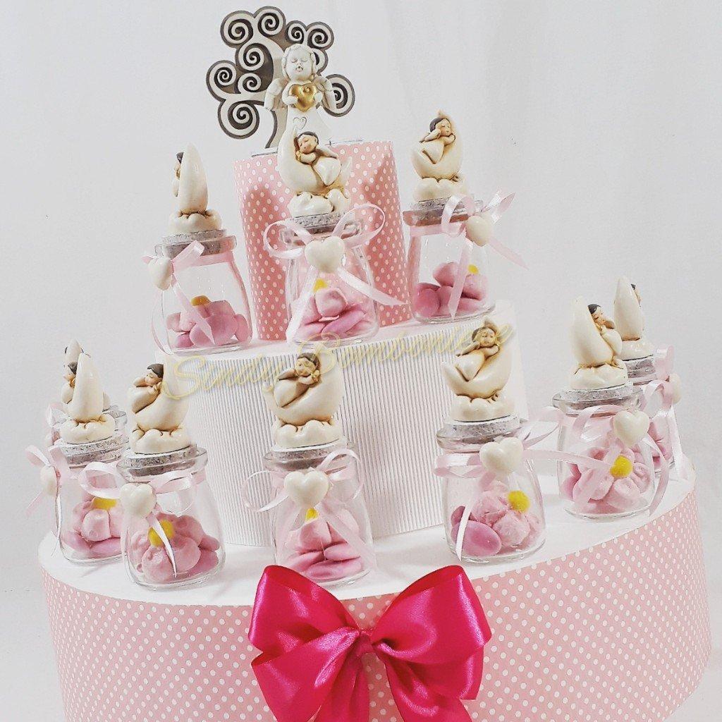 Tarta de 25 tarros con tapón de corcho y ángel sobre Luna bautizo nacimiento niña