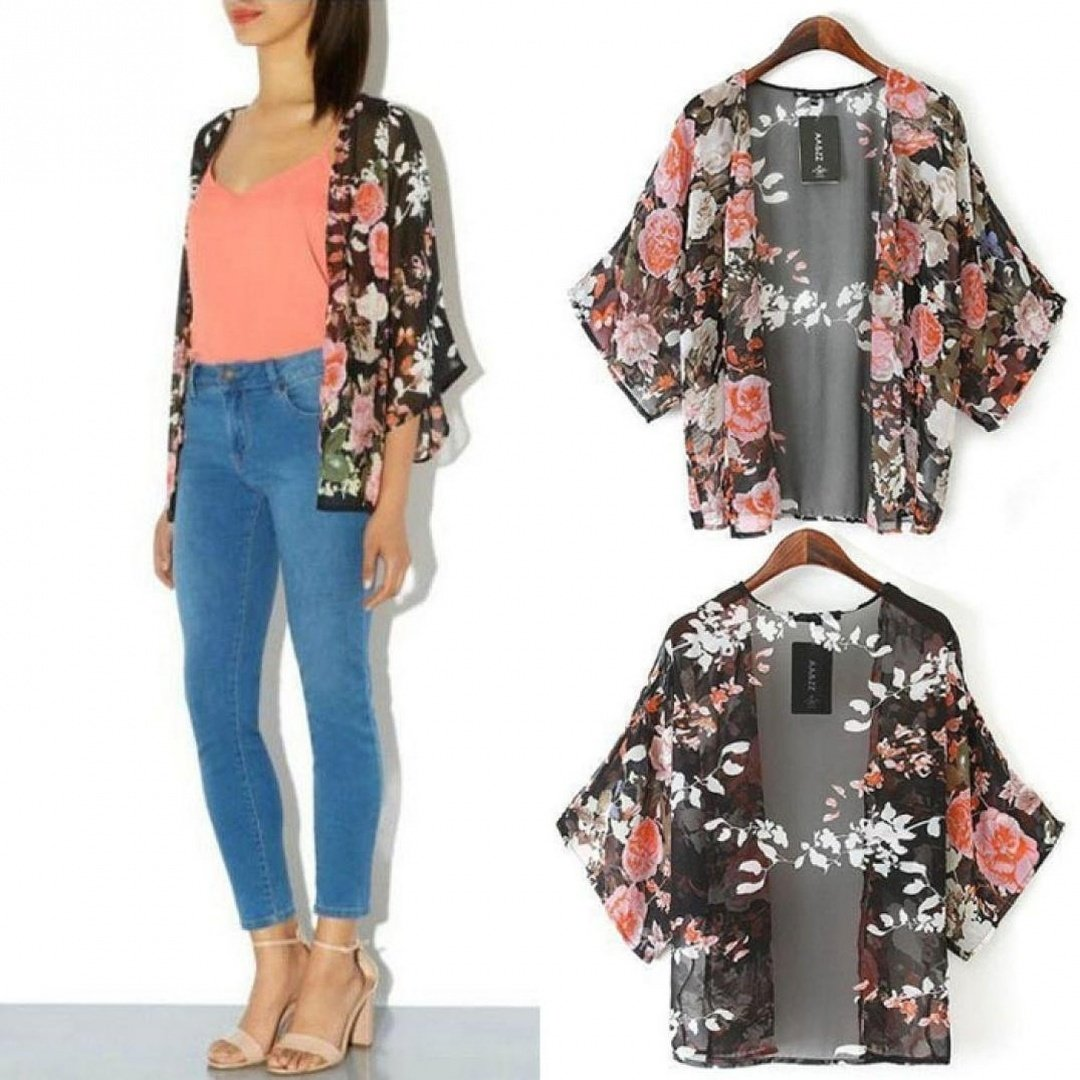 e5348c7f0ac8c Orangesky Vintage Floral Kimono Boho Chiffon Cardigan at Amazon Women's  Coats Shop