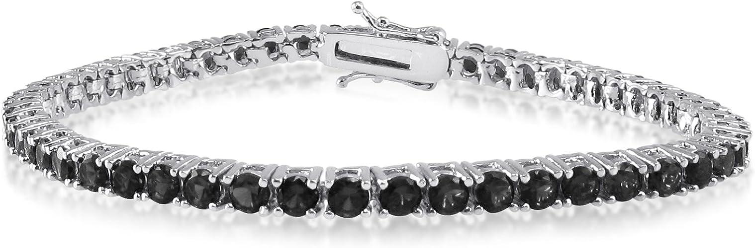 ".925 Sterling Silver 5.5mm Round Cut CZ Rhodium Tennis Bracelet  6.5/"" 7/"" 8/"""