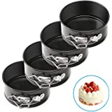 AFYHA 4-inch Mini Springform Pans, Set of 4 Carbon Steel Baking Pan / Non-stick Mini Cake Pans, Round Bakeware Set / Mini Cheesecake Pan with Removable Bottom
