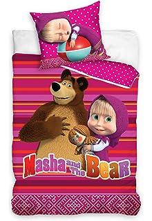 Masha Und Der Bär Kinder Bettwäsche In 2 Größen 140x200 Cm Flieder