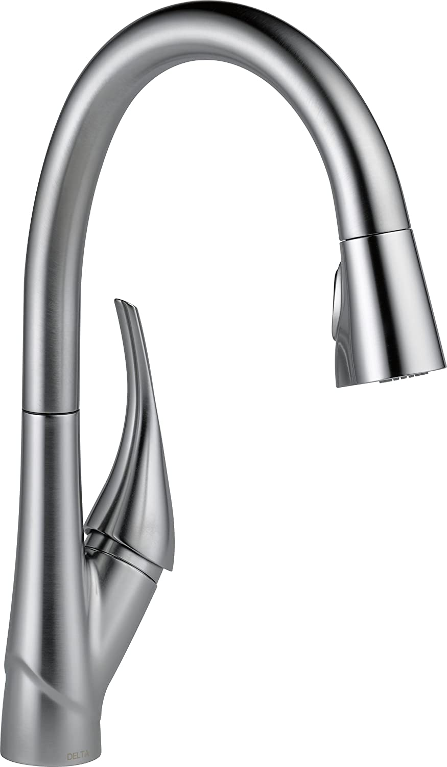 Delta Faucet Esque Single-Handle Kitchen Sink Faucet with Pull Down Sprayer, ShieldSpray Technology and Magnetic Docking Spray Head, Arctic Stainless 9181-AR-DST