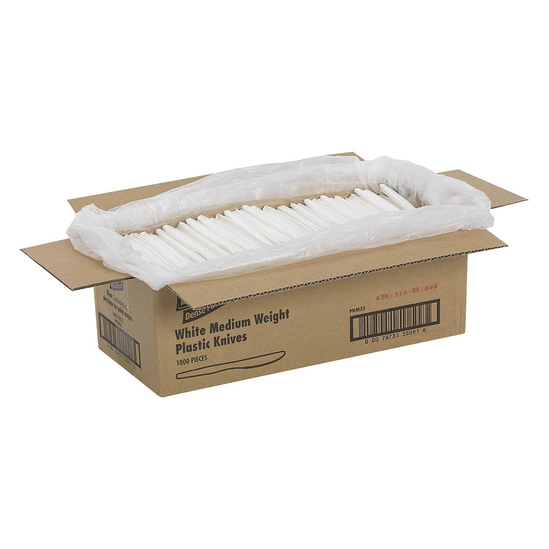 "Dixie PKM21 Medium Weight Polypropylene Knife, 6.56"" Length, White (Case of 1,000)"