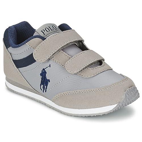 Polo Ralph Lauren - Zapatillas de Piel para niña Gris Gris: Amazon.es: Zapatos y complementos