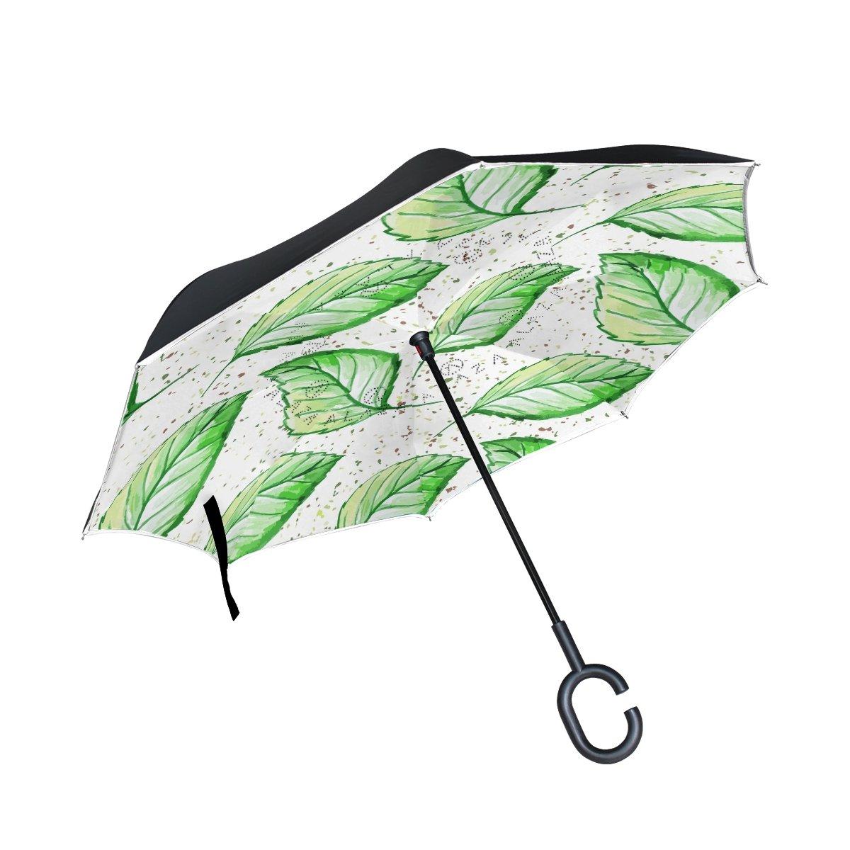 TIZORAX aquarelle Feuilles vertes inversé double couche droites parapluies sur l'envers réversible Parapluie avec poignée en forme de C pour la pluie Soleil de voiture Utilisation