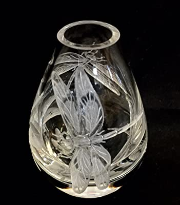 Hand Engraved crystal mini bud vase dragonflies, hand engraved, hand carved, house warming, Hand etched dragonflies, House Warming Gifts,