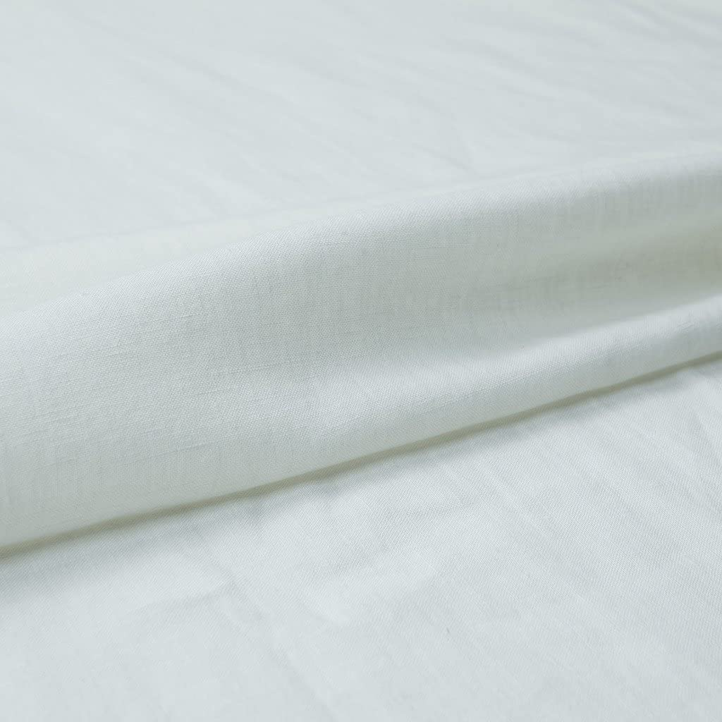 """Japan Nature 100% Linen Fabric for Clothing, Home Decor, Pillow, Sofa, 56"""" Width, Craft by The Yard, White Color"""
