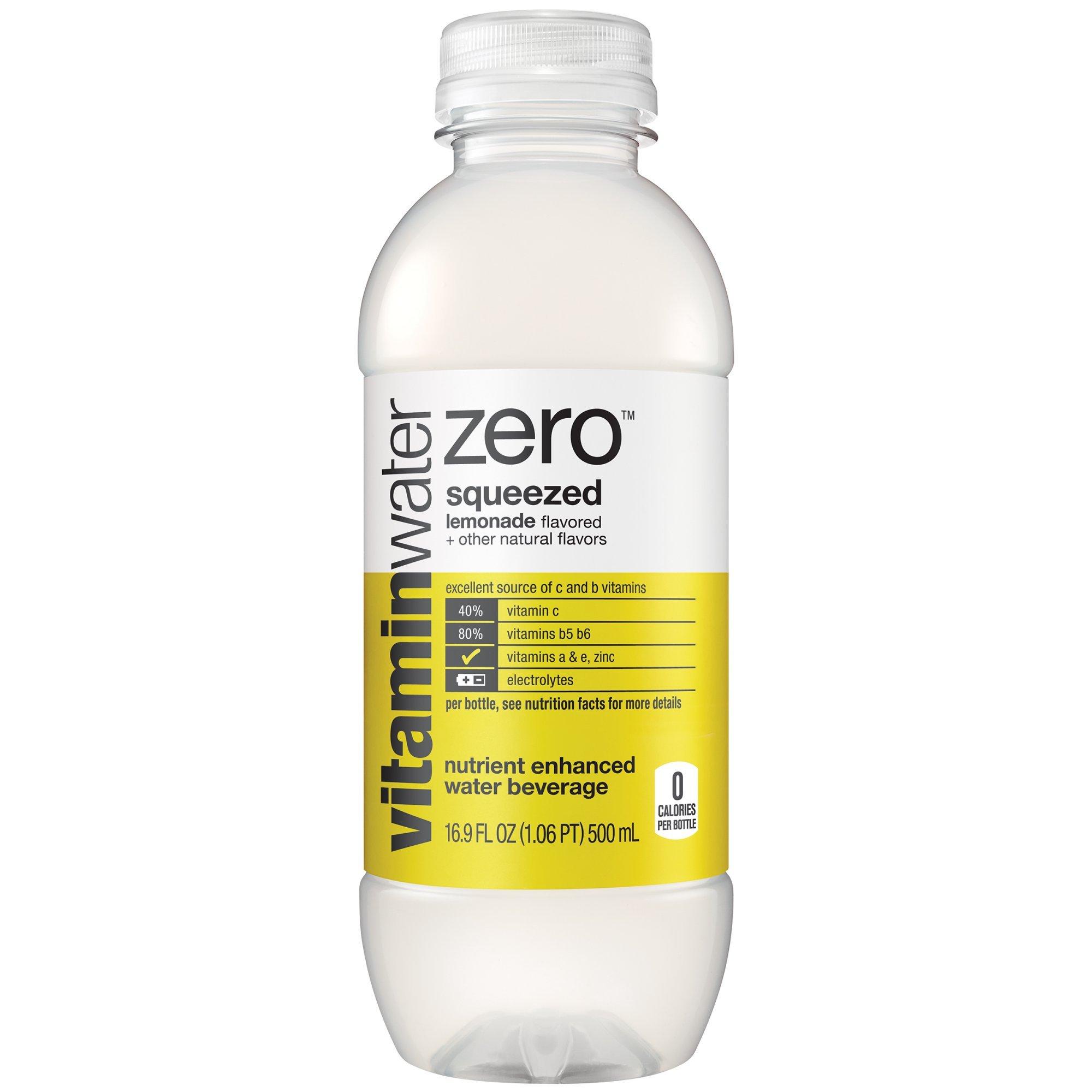 vitaminwater zero squeezed, Lemonade, 16.9 fl oz, 24 Count