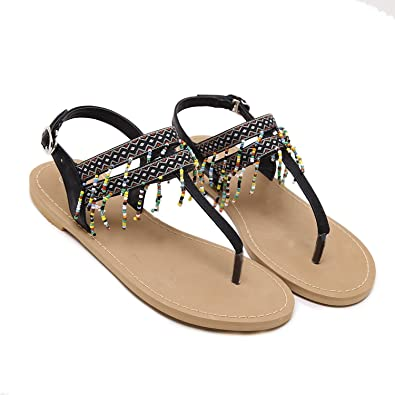 f5bbef930ec Lokouo Female Summer Even Write Beads Decorated Fringed Female Sandals