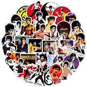 Bruce Lee Stickers for Travel Case 50pcs, Cool Kung Fu Movie Star Decal for Water Bottle Laptop Phone, Teen Bike Hydro Flask Luggage Stickers (Bruce Lee)