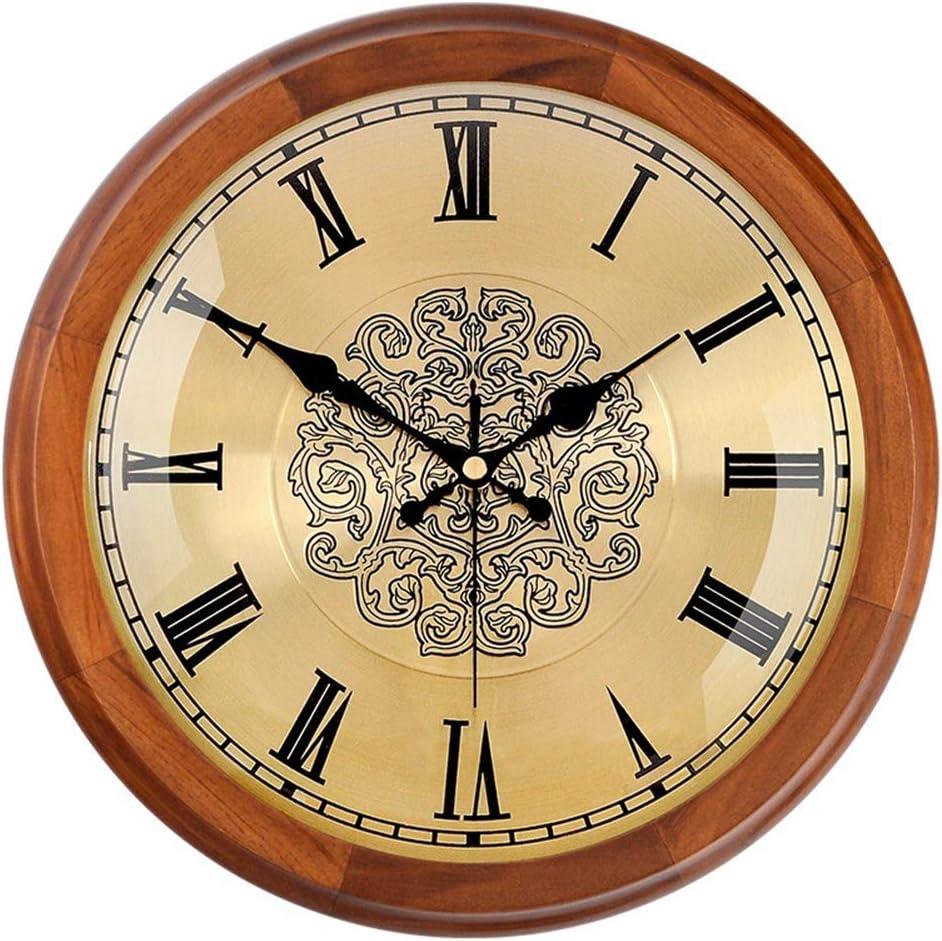 ホーム&時計 壁掛け時計ヨーロッパのレトロバッテリーは非カチカチサイレントクォーツローマ数字クリエイティブベッドルームリビングルームインテリア木製フレーム金属製のダイヤルを運営しました サイレント掛け時計