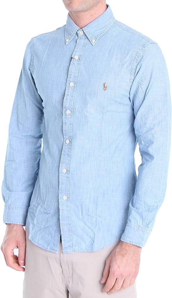 Polo Ralph Lauren Mod. 710795458 Camisa Jeans Slim Fit Hombre Azul Claro M: Amazon.es: Ropa y accesorios