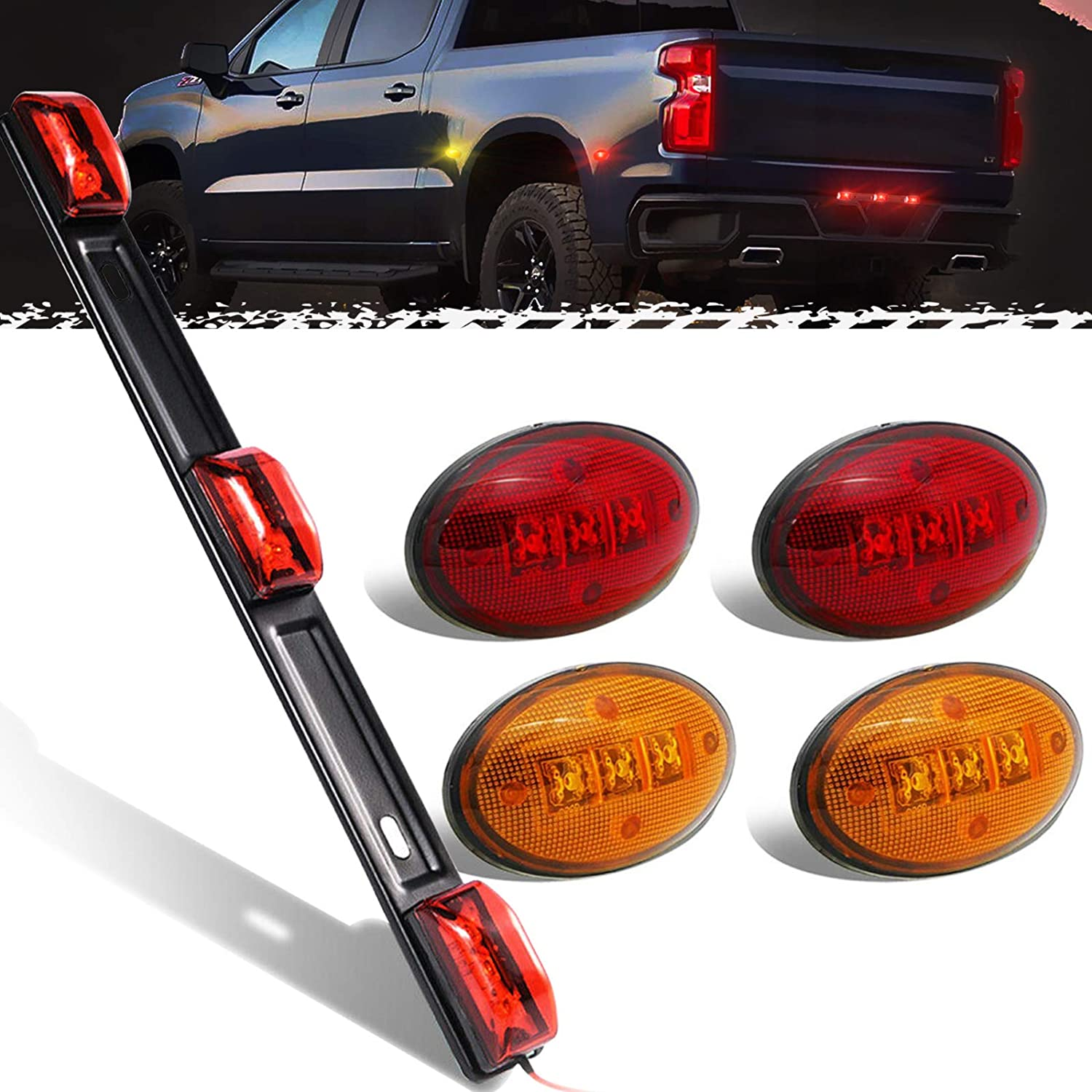 PSEQT 9 LED Identification ID Tail Lights /& 3 LED Side Marker Light Kits Waterproof for F150 F250 and All 1999-2010 Ford F350 F450 F550