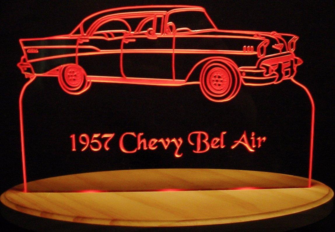 1957 Chevy Belair Acrylic Lighted Edge Lit 13'' LED Sign / Light Up Plaque 57 VVD1 Full Size USA Original
