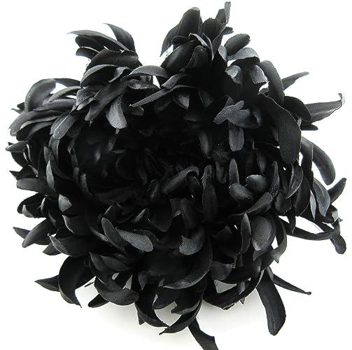 Goth Black Dahlia 5 inch Silk Flower Brooch Pin with Locking Bale