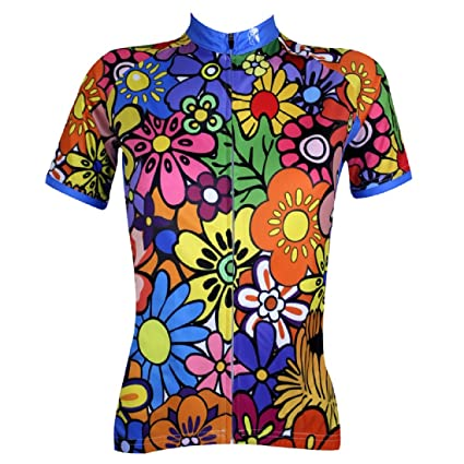 cd0ee4ea4 Paladin Breathable Women s Cycling Jersey Short Sleeve for Outdoor Sports  Colorful Flowers Pattern Tight Design Size