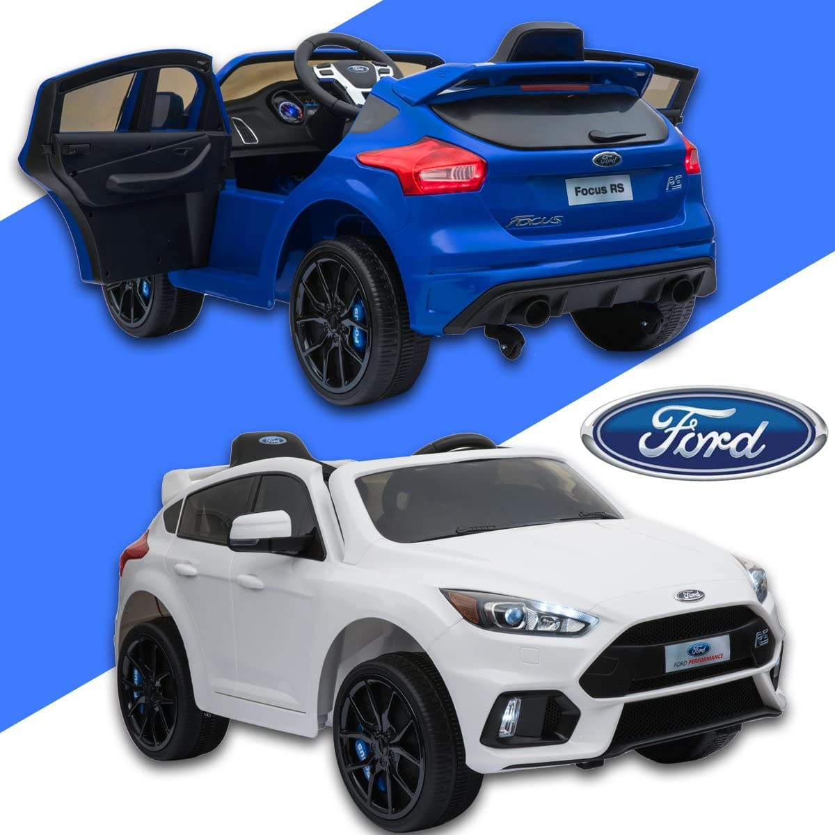 ICE Kids Official Electric Ride on Car Ford Focus RS, Original Licenced, Battery Powered, Opening Doors, 2x Engine, 12 V Battery, 2.4 Ghz remote
