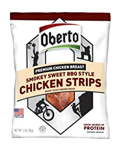 Oberto Premium Chicken Breast Smokey Sweet BBQ Style Chicken Strips, 3 Ounce