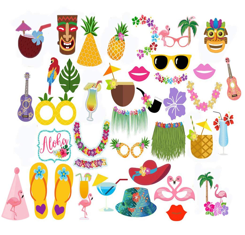 Luau Photo Booth Props Kit, Hawaiian/Tropical/Tiki/Beach/Summer Pool Party Decorations Supplies (36pcs)