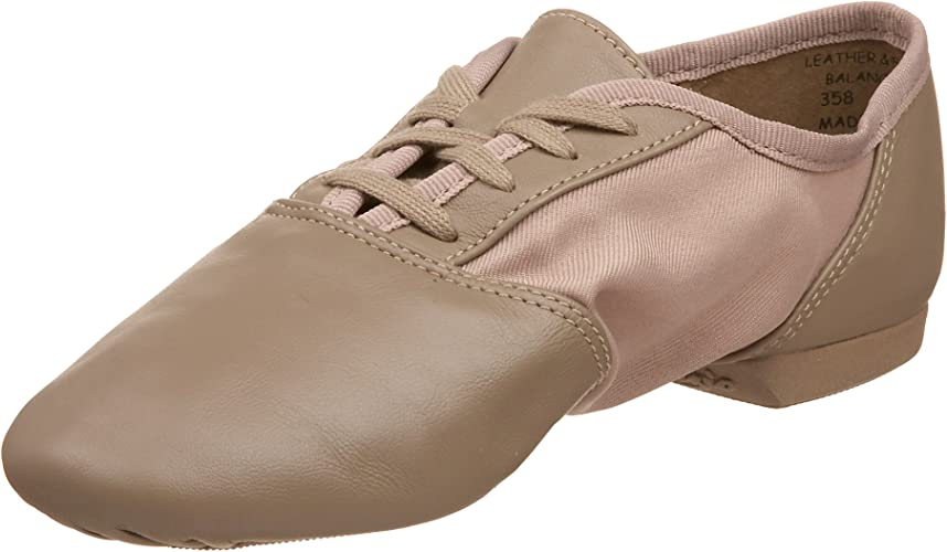 Capezio Split Sole Jazz Shoe Dance Tan Black 358 Adult New In Box