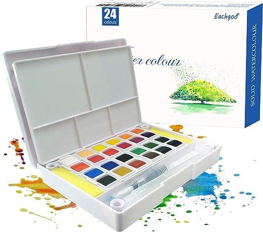 Eachgooo Set de Pinturas de Acuarela, 24 Colores Cajas de ...