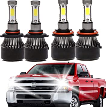 Amazon Com 9005 H11 Led Headlight High Beam Low Beam Combo Set For Chevy Silverado 1500 2500 Hd 3500 Hd 2008 2015 4 Sides Cob Chips 48000lm High Power Car Upgrade Lights Conversion Kit Automotive