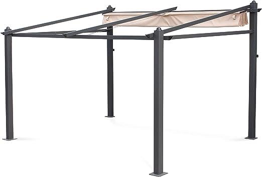 Alices Garden - Pérgola de Pared de Aluminio, 3 x 4 m, Lona Beige, cenador Ideal para su terraza, Techo retráctil, Tela Deslizante, Estructura de Aluminio: Amazon.es ...