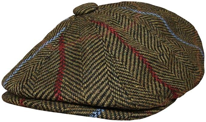 4c65b70025a Mens Baker Boy Cap Peaked Country Flat Caps Herringbone Gatsby Hat Blue or  Green (56