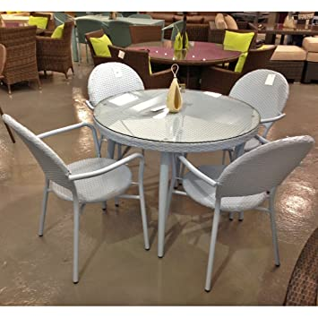 retro 4 seat coloured rattan garden furniture light blue amazon rh amazon co uk