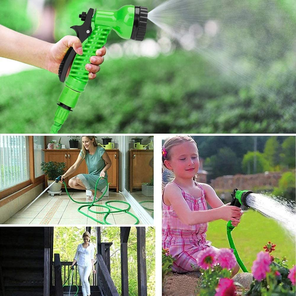 XLL 25FT-150FT Expandable garden magic hose Telescopic Water Pipe irrigation watering Spray Car Wash Plastic Pressure Gun cleaning tools Blue