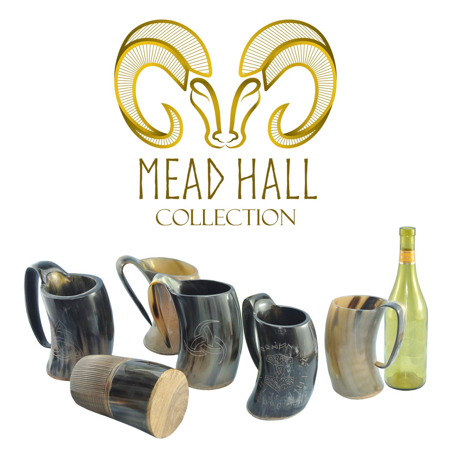 Mythrojan Viking Drinking Tankard with Medieval Buckle Leather Strap Wine Beer Mead Mug 750 ML - Polished Finish
