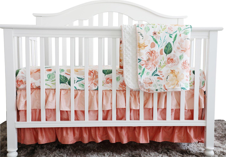 Secret Garden Coral Floral Ruffle Baby Minky Blanket Water color, Peach Floral Nursery Crib Ruffle Skirt Set Baby Girl Crib Bedding (Secret Garden 3 pieces set)