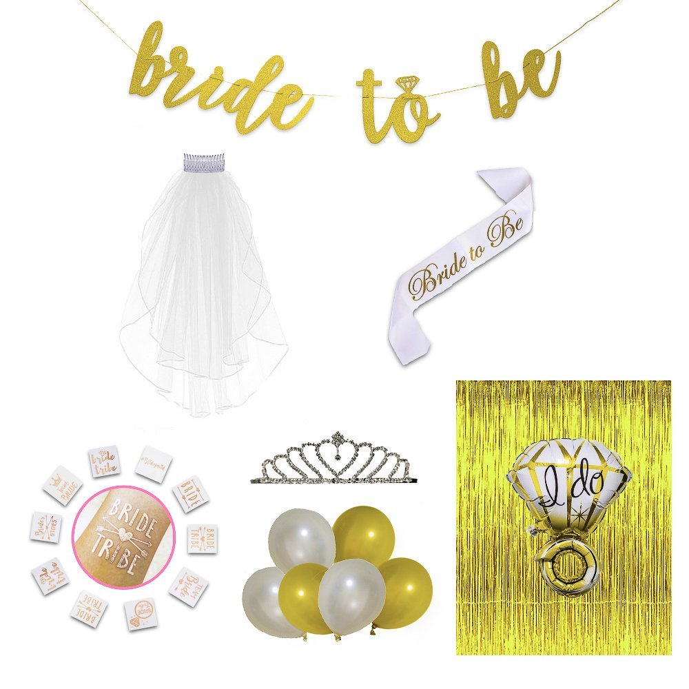 Bachelorette Party Decorations KIT | Bridal Shower Favors |Bride to Be Banner | Sash | Veil/Hair Comb | Balloons | Bridal Shower Party Supplies KIT | Gold Curtain | Wedding | Bride Tribe Team Tattoos