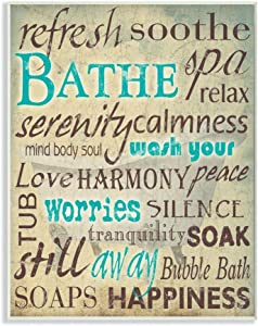 Stupell Home Décor Bathe Wash Your Worries Typography Bathroom Wall Plaque, 10 x 0.5 x 15, Proudly Made in USA
