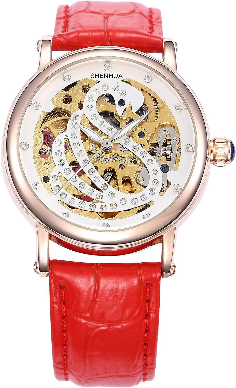 Hofun Women s Luxurious Rlegant Rose Gold White Swan Rhinestone Automatic Winding Mechanical Hollow Watch
