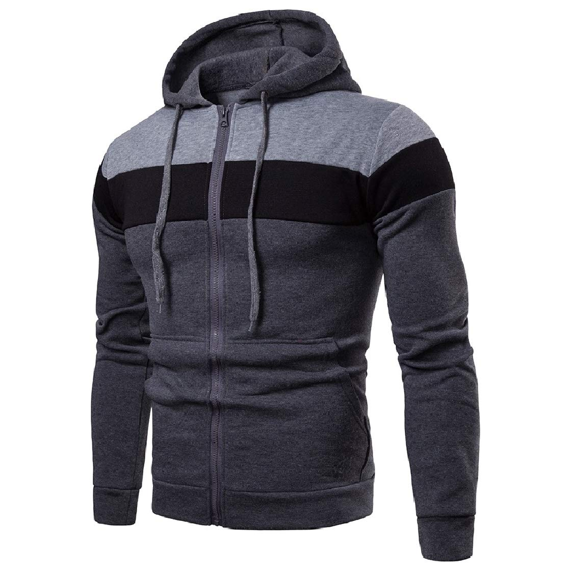 YUNY Mens Stitching Jackets Zip-up Casual Hood Cardigan Outwear Tracksuit Top Gray L