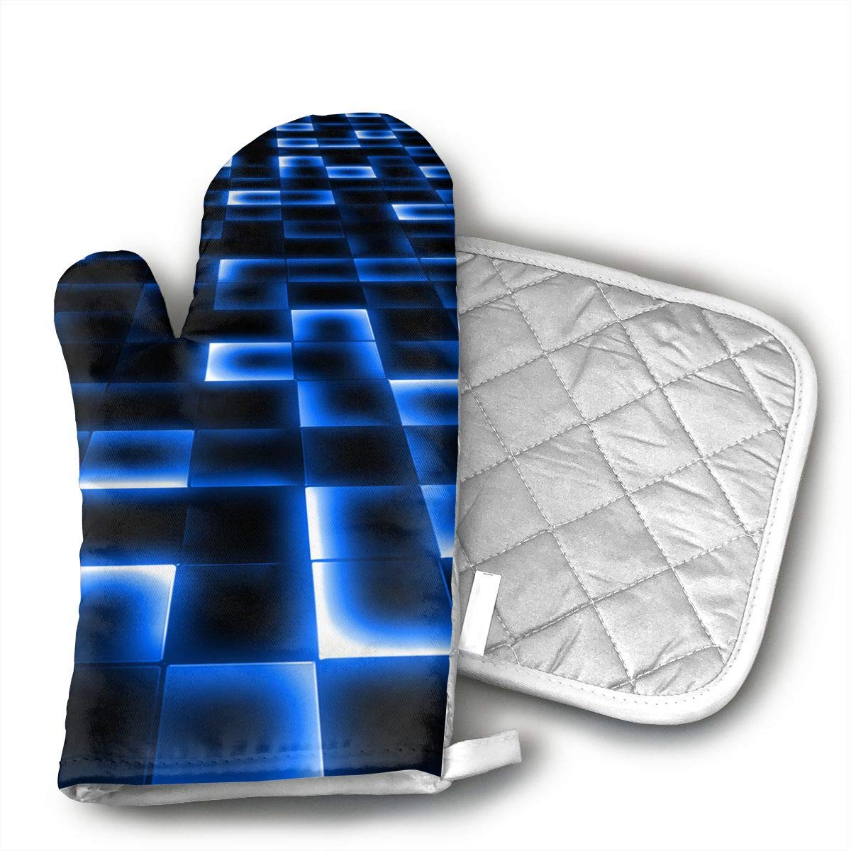 Sci Fi UFO Landing Pad Oven Mitts and Pot Holders Set with Polyester Cotton Non-Slip Grip, Heat Resistant, Oven Gloves for BBQ Cooking Baking, Grilling